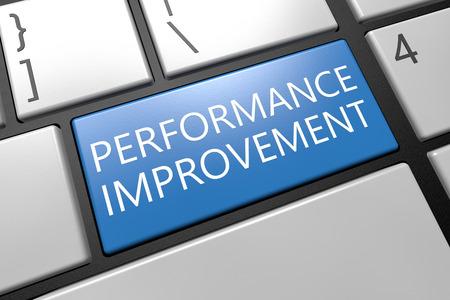performance improvement: Performance Improvement - keyboard 3d render illustration with word on blue key