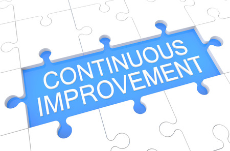 cip: Continuous Improvement - puzzle 3d render illustration with word on blue background Stock Photo