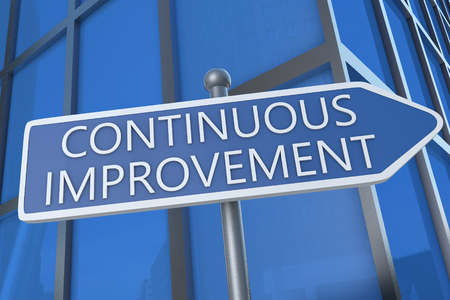 business development: Continuous Improvement - illustration with street sign in front of office building. Stock Photo
