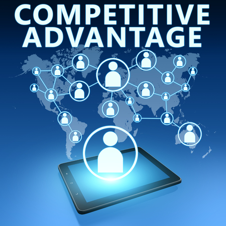 in differentiation: Competitive Advantage illustration with tablet computer on blue background