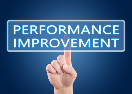 performance improvement: Performance Improvement - hand pressing button on interface with blue background. Stock Photo