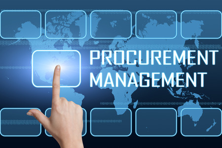 procure: Procurement Management concept with interface and world map on blue background Stock Photo