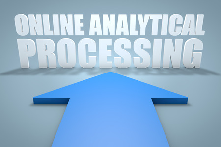 online analytical processing: Online Analytical Processing - 3d render concept of blue arrow pointing to text.