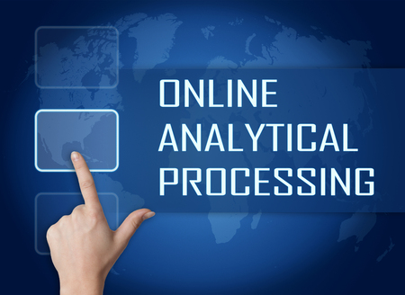 online analytical processing: Online Analytical Processing concept with interface and world map on blue background