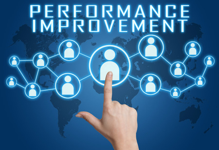 performance improvement: Performance Improvement concept with hand pressing social icons on blue world map background.