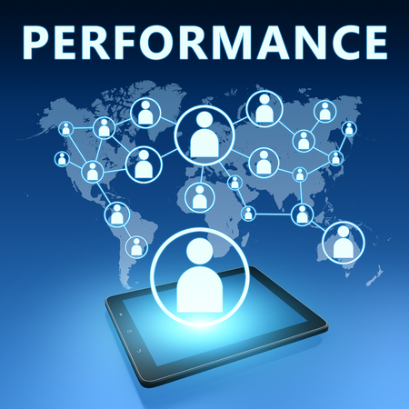 business performance: Performance illustration with tablet computer on blue background