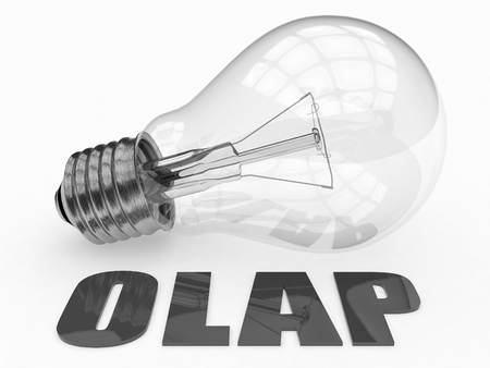online analytical processing: OLAP - Online Analytical Processing - lightbulb on white background with text under it. 3d render illustration. Stock Photo