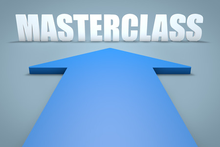 elearn: Masterclass - 3d render concept of blue arrow pointing to text.