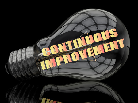 cip: Continuous Improvement - lightbulb on black background with text in it. 3d render illustration. Stock Photo