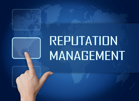review site: Reputation Management concept with interface and world map on blue background