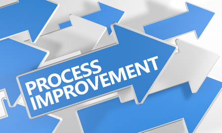 Process Improvement - 3d render concept with blue and white arrows flying over a white background.