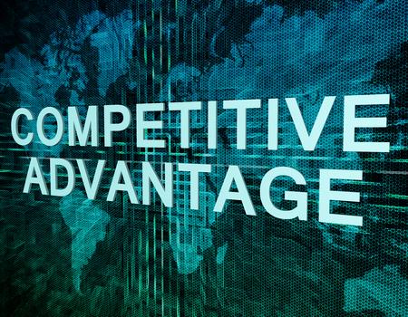 competencia: Competitive Advantage concepto de texto en verde mundo digital mapa de fondo
