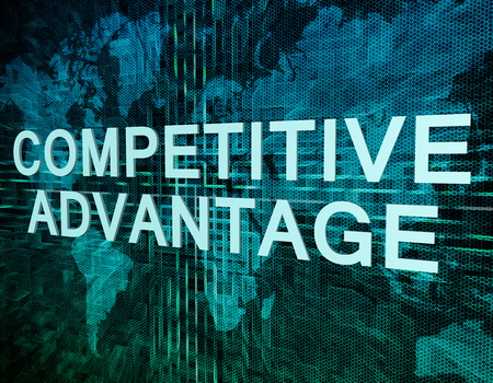 competition success: Competitive Advantage text concept on green digital world map background