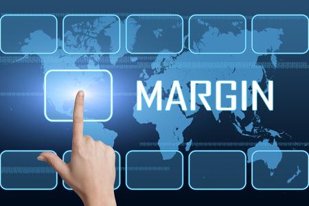 margin: Concepto de margen con el interfaz y el mapa del mundo sobre fondo azul