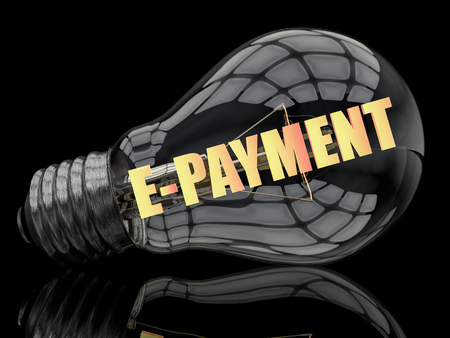 epayment: E-Payment - lightbulb on black background with text in it. 3d render illustration.