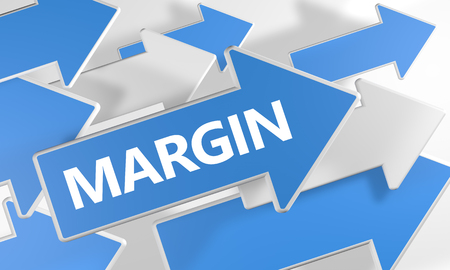 margine: Margin - 3d render concept with blue and white arrows flying over a white background. Archivio Fotografico