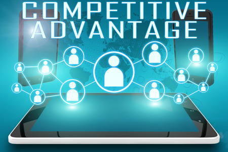 differentiation: Competitive Advantage - text illustration with social icons and tablet computer and mobile cellphones on cyan digital world map background.