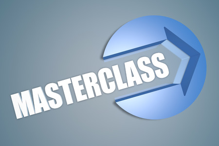 elearn: Masterclass - text 3d render illustration concept with a arrow in a circle on blue-grey background