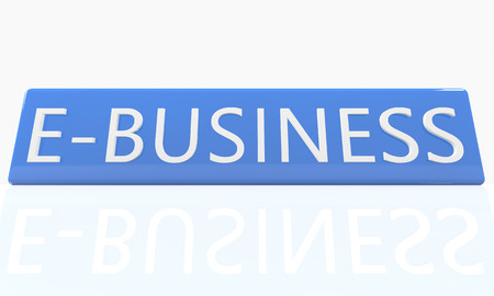 retailing: E-Business - 3d render blue box with text on it on white background with reflection