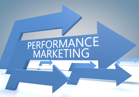 emarketing: Performance Marketing - render concept with blue arrows on a bluegrey background. Stock Photo