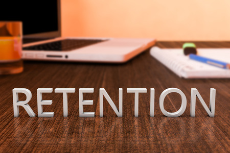 retention: Retention - letters on wooden desk with laptop computer and a notebook. 3d render illustration. Stock Photo