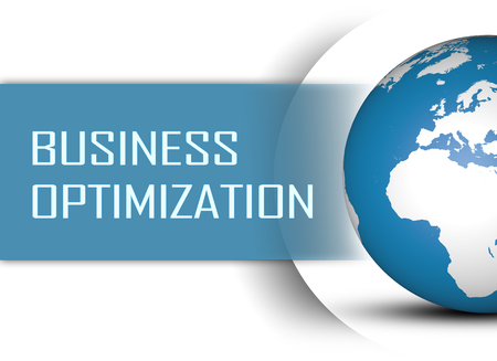 process management: Business Optimization concept with globe on white background Stock Photo