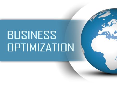 proceso: concepto de optimización de negocios con el globo en el fondo blanco