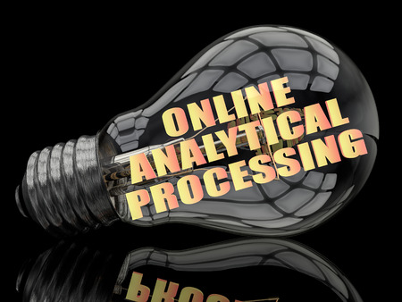 online analytical processing: Online Analytical Processing - lightbulb on black background with text in it. 3d render illustration.