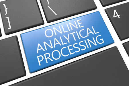 online analytical processing: Online Analytical Processing - keyboard 3d render illustration with word on blue key Stock Photo