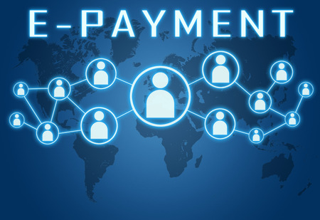 epayment: E-Payment concept on blue background with world map and social icons. Stock Photo