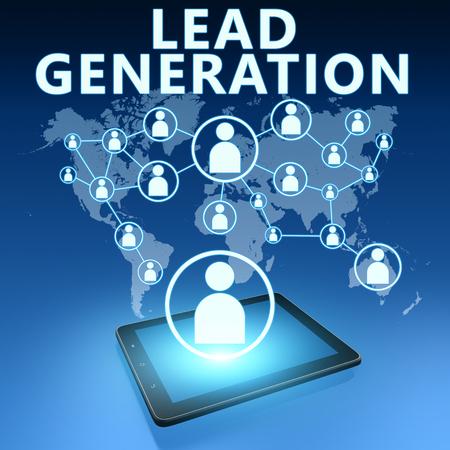 Lead Generation illustratie met tablet-computer op een blauwe achtergrond