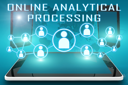 online analytical processing: Online Analytical Processing - text illustration with social icons and tablet computer and mobile cellphones on cyan digital world map background. Stock Photo