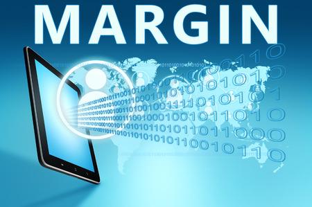 margin: Ilustraci�n Margen con tablet PC en el fondo azul