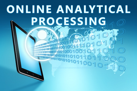 online analytical processing: Online Analytical Processing illustration with tablet computer on blue background