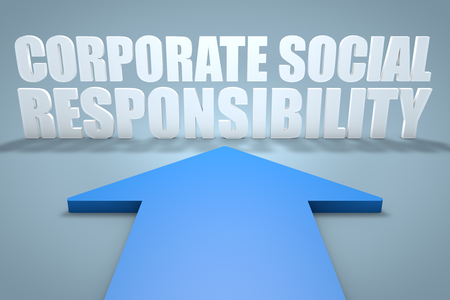 corporate social: Corporate Social Responsibility - 3d render concept of blue arrow pointing to text. Stock Photo