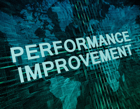 business performance: Performance Improvement text concept on green digital world map background