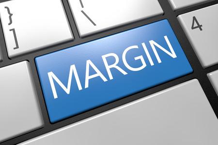 margins: Margin - keyboard 3d render illustration with word on blue key Stock Photo