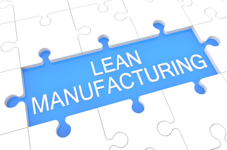 manufacturing: Lean Manufacturing - puzzle 3d render illustration with word on blue background Stock Photo