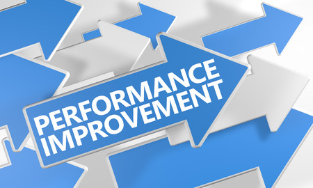 management: Performance Improvement - 3d render concept with blue and white arrows flying over a white background.