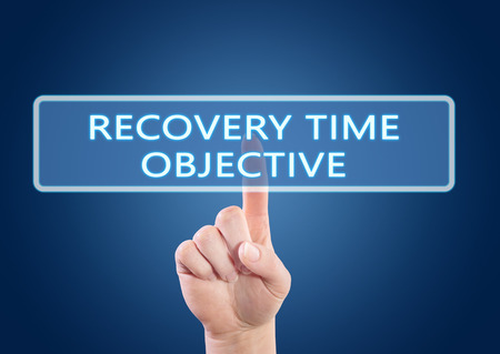 time critical: Recovery Time Objective - hand pressing button on interface with blue background.