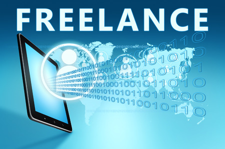 independent contractor: Freelance illustration with tablet computer on blue background Stock Photo