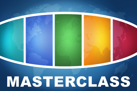 elearn: Masterclass text illustration concept on blue background with colorful world map Stock Photo