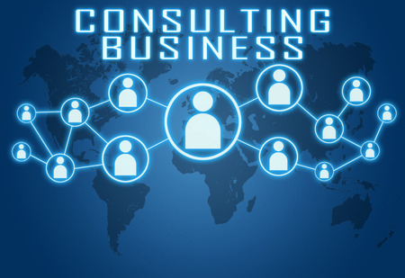 business services: Consulting Business concept on blue background with world map and social icons.