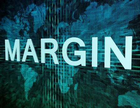 margine: Concetto di testo Margine sul verde mondo digitale sfondo mappa
