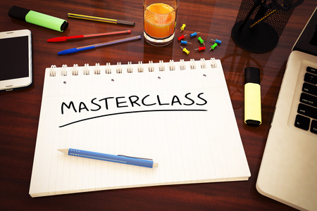 elearn: Masterclass - handwritten text in a notebook on a desk - 3d render illustration.