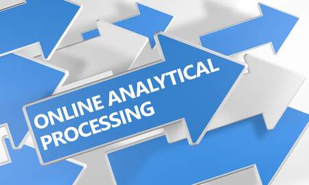 online analytical processing: Online Analytical Processing - 3d render concept with blue and white arrows flying over a white background.