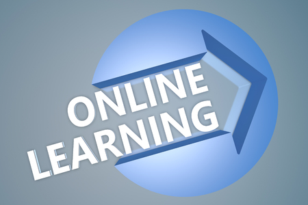 self exam: Online Learning - text 3d render illustration concept with a arrow in a circle on blue-grey background