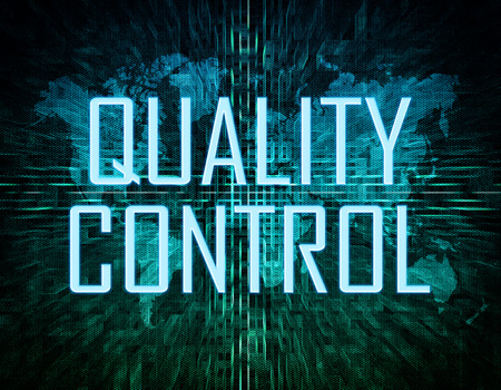 best quality: Quality Control text concept on green digital world map background