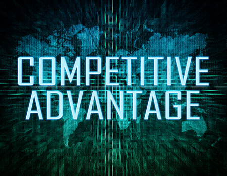competitive: Competitive Advantage text concept on green digital world map background