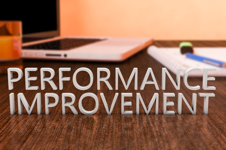 performance improvement: Performance Improvement - letters on wooden desk with laptop computer and a notebook. 3d render illustration. Stock Photo